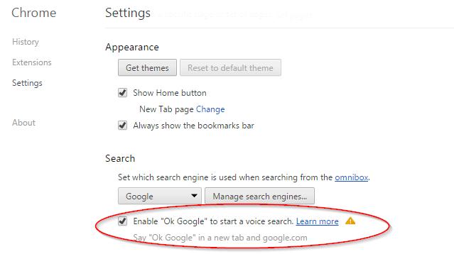 Settings - OK Google