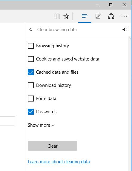 Edge - Hub - History - Clear browsing data