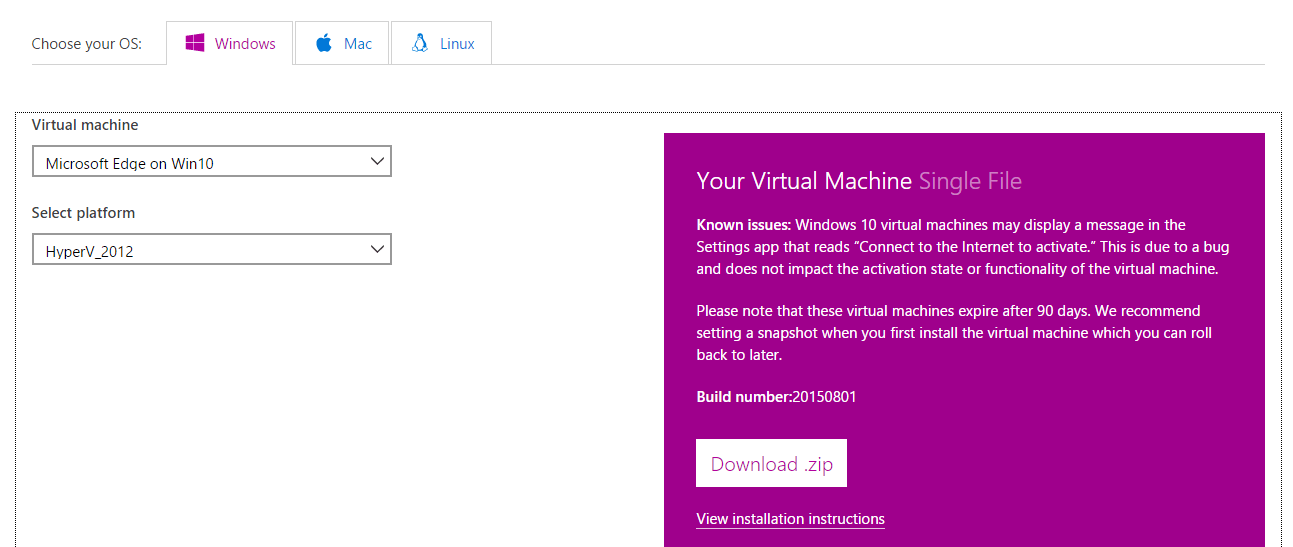 Test Website in Microsoft Edge with Free Windows 10 Virtual