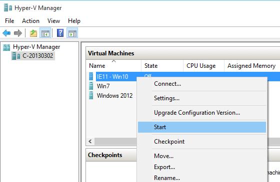Hyper-V - Start Virtual Machine