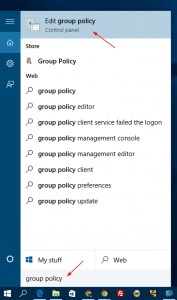 Start - open group policy editor