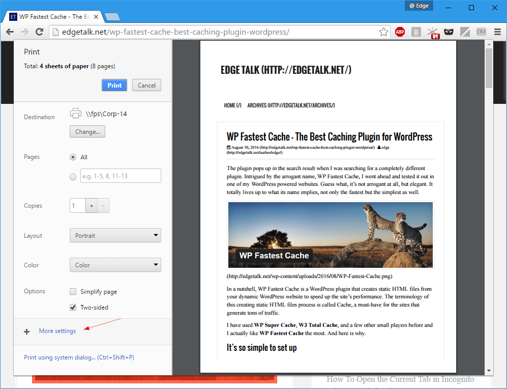 How To Print Selected Text in Nice Plain Format in Chrome