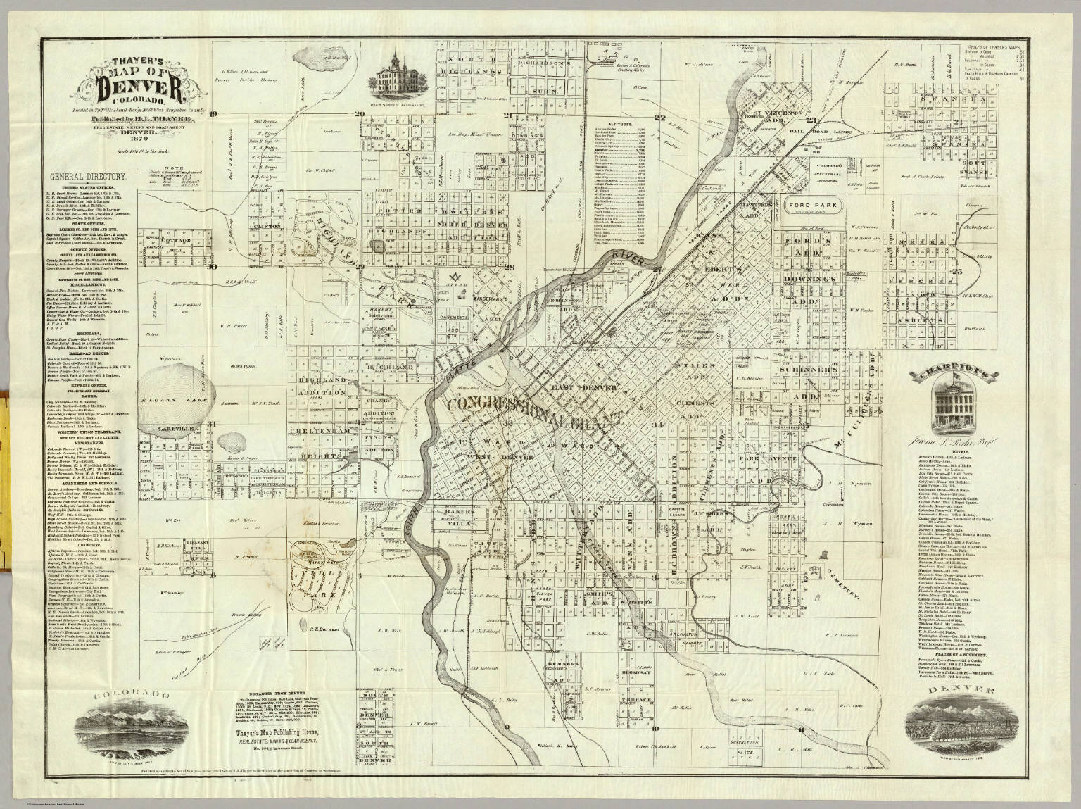 Thayer's Map of Denver Colorado (1879) from David Rumsey Historical Map Collection