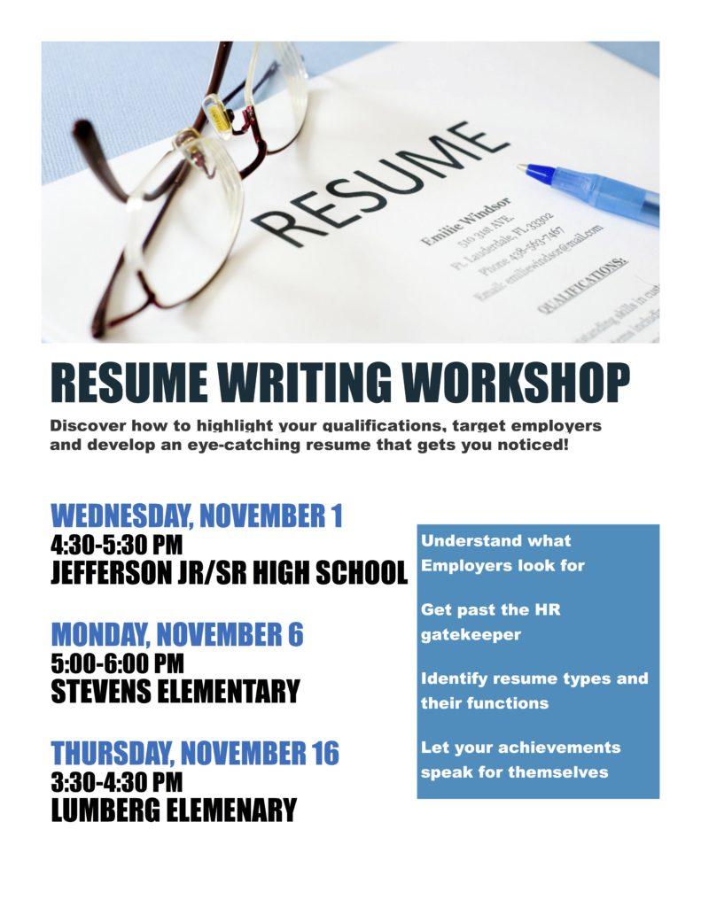 Free Resume Writing Workshop Edgewater Echo