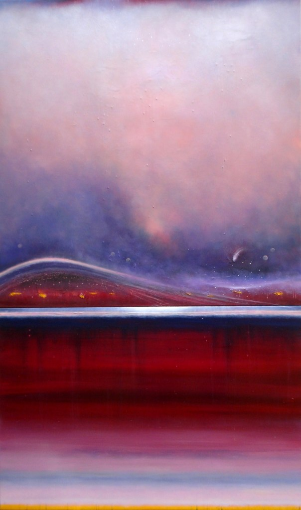 """Their Percussive Heartbeats by Nancyanne Cowell, oil and varnish diptych, 60"""" X 36"""""""