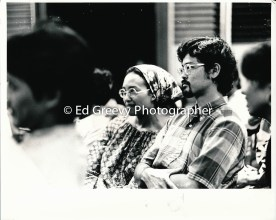 Bob Nakata listens to testimony at SOS Ethnic Studies meeting 2577-1-32 1972