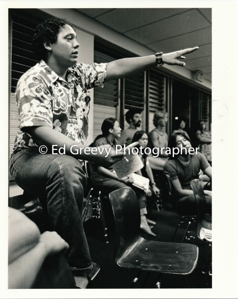 John Sexton makes a point at Ethnic Studies meeting at Kaimuki Library 1972