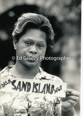 Sand Island resident at protest demo 5000-1-20 2-24-80
