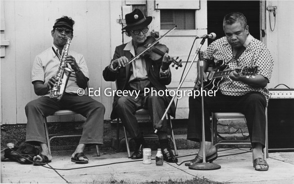 Chinatown Jazz trio entertains at a rally against evictions at 1189 River St. 4051-1-8A 3-3-79