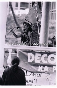 Haunani-Kay Trask speaks at Iolani Palace overthrom protest march-demo. 7085-14-13 1-17-93