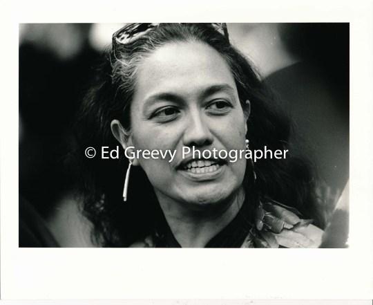 Ka Lahui leader Haunani-Kay Trask at Iolani Palace protest demo[march. 7085 1-17-93