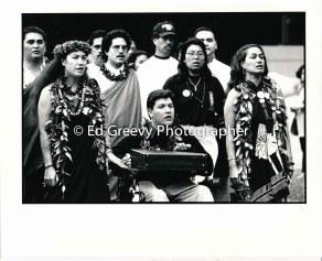 Mililani Trask, Kanalu Young and Haunani-Kay Trask lead Ka Lahui march to Iolani Palace protest of yhe overthrow. 7085 1-17-93