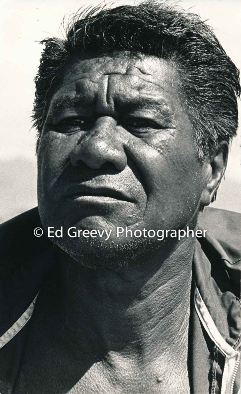 Billy Molale, Mokauea fisherman and strong supporter of other communities resisting eviction on all islands. 2889-5-18A 1975