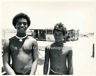 Raymond %22Kepa%22 Kalilikane on left and Gordon Silva on Mokauea Island. 2914-6- 8-26-75