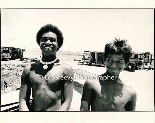 Raymond %22Kepa%22 Kalilikane on the left and Gordon Silva on the right. ON Mokauea Island. 2914-6-15A 8-26-75
