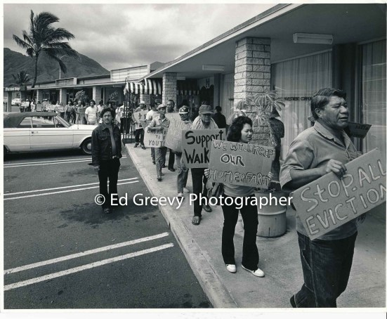 waiahole-waikane-leader-bob-fernandez-with-residents-and-supporters-mokauea-island-protester-billy-molale-at-rt-picket-developer-joe-pao-at-his-office-2965-6-5-4-7-76