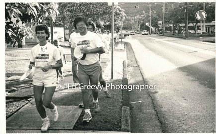 Judy Sobin, left running during her fundraiser. _