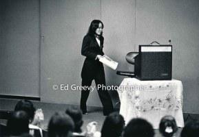 Ninotchka Rosca prepares to speak at UH. 6023-8 2-23-84