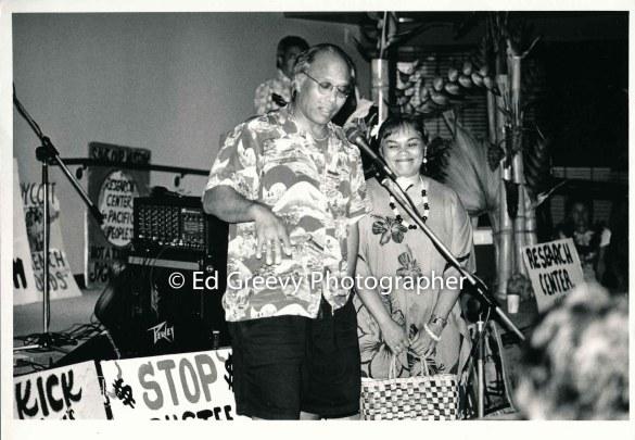 Pete Thompson and Kerri Keko`olani at Marion Kelly's birthday party. _