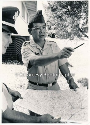 State House Representative Herb Segawa with military supporter in Hilo. 2698 C1972