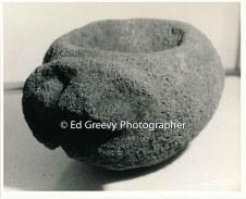 Stone piece at Bishop Museum. 7052 3-1992