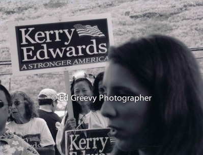 Val Loh, holding sign at John Kerry rally. _
