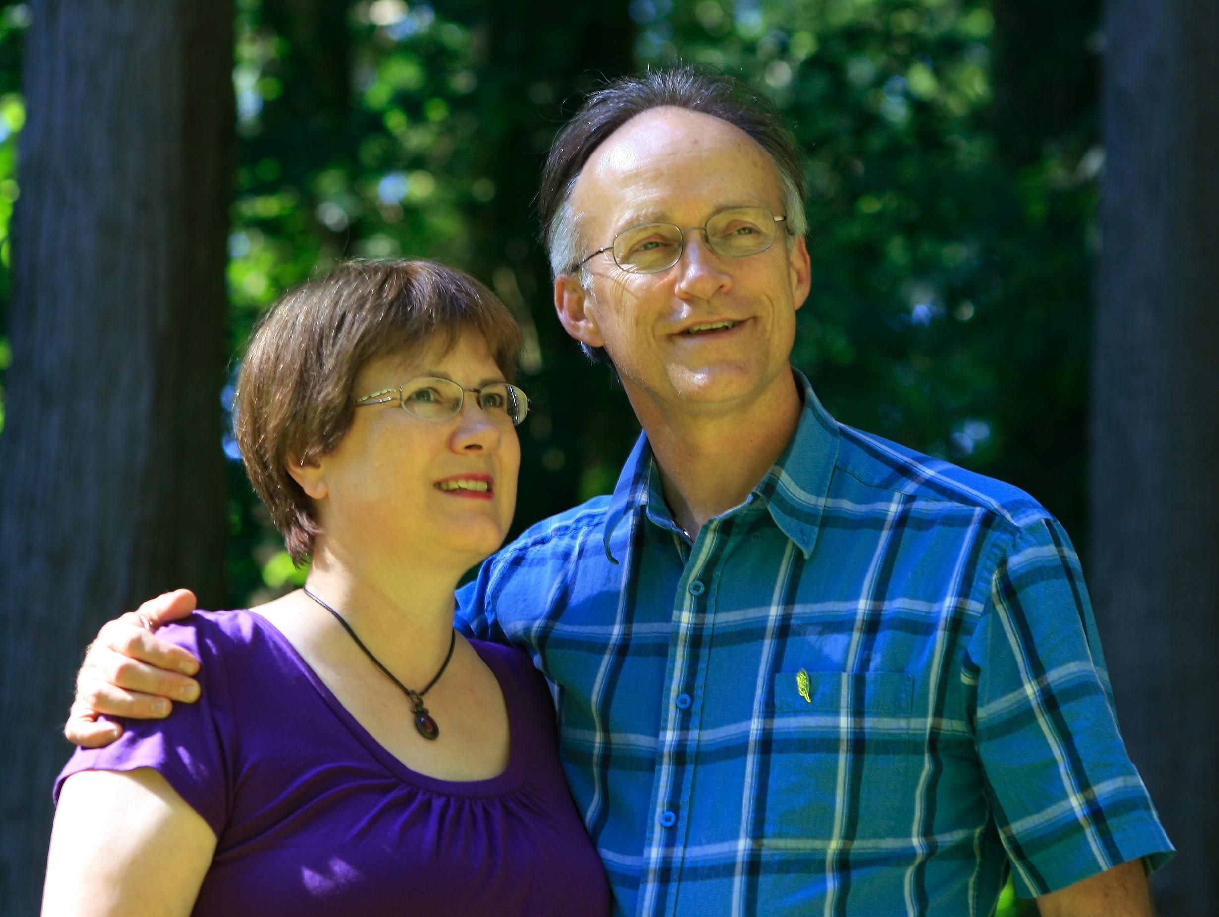 Janice and Ed gazing upward