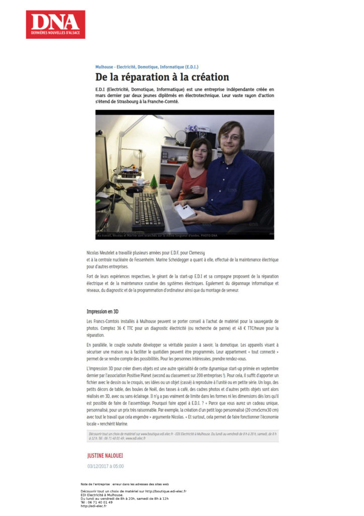 Article journal DNA novembre 2017 Edi Elec
