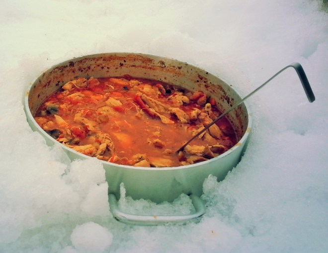 Italian chicken stew chilling in the snow