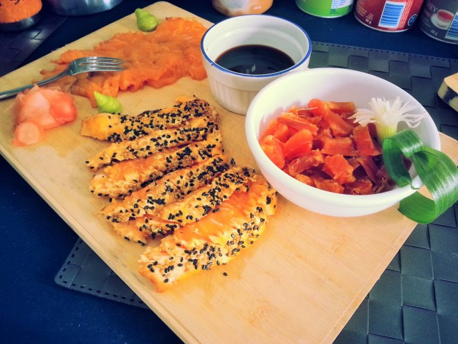 Platter of Arctic Char: sashimi, tataki and pitsik