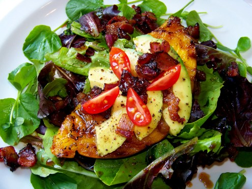Grilled Mango Salad with Hot Bacon Dressing