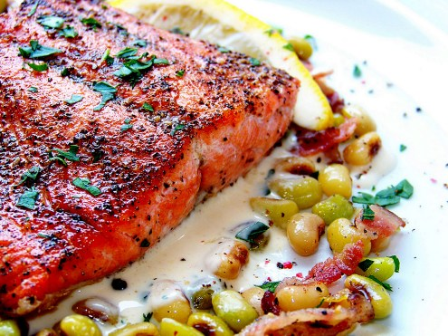 Pan-Seared Salmon, Fresh Peas and Mustard Beurre Blanc