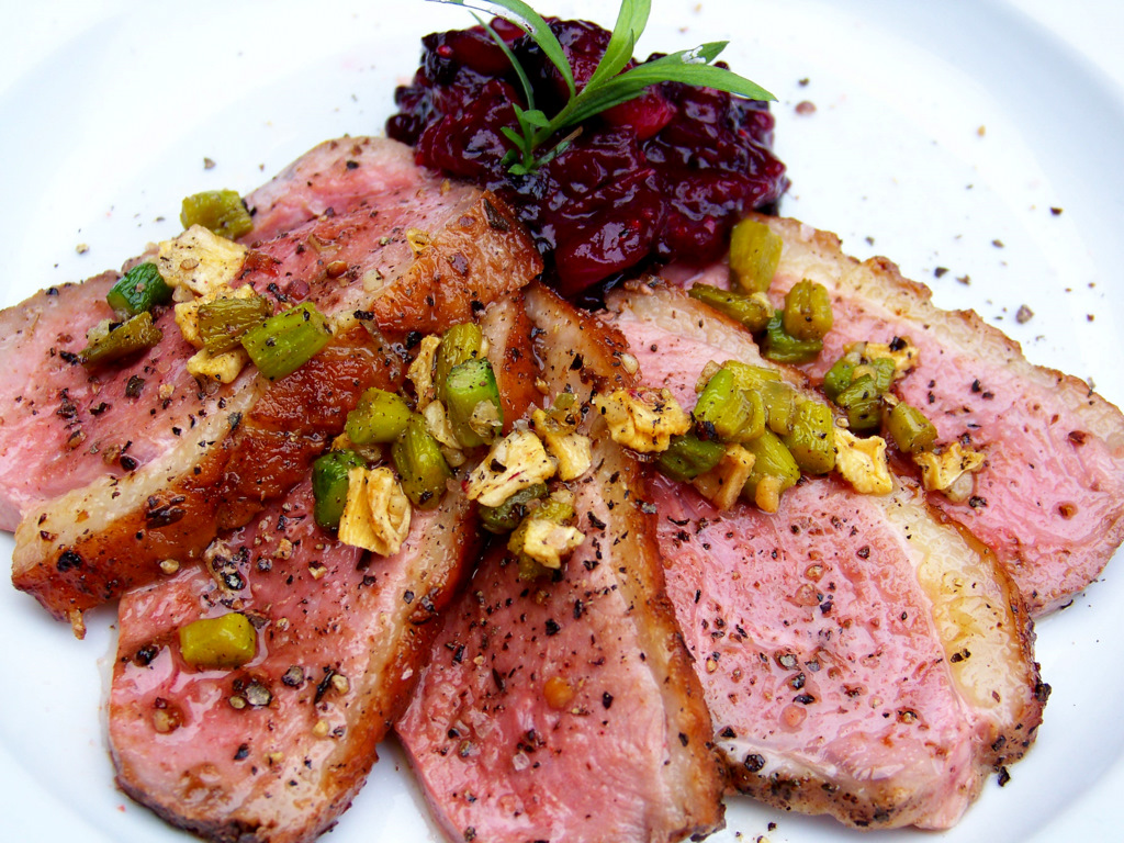 Pan Roasted Duck Breast With Blackberry And Cranberry Chutney