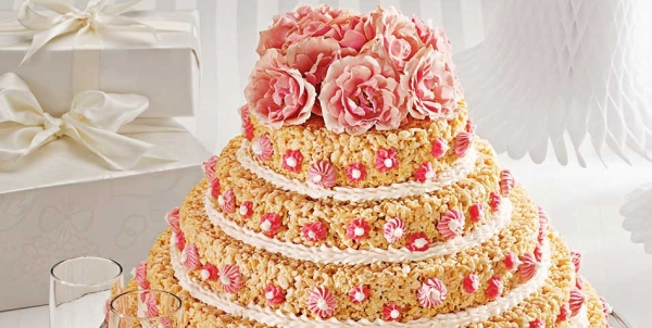 rice krispie treat wedding cake edible crafts. Black Bedroom Furniture Sets. Home Design Ideas