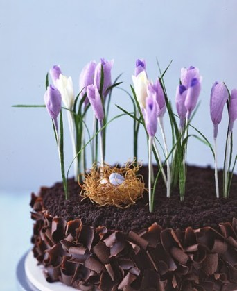 ... chocolate cake adorned with paper snowdrops and crocuses with a phyllo