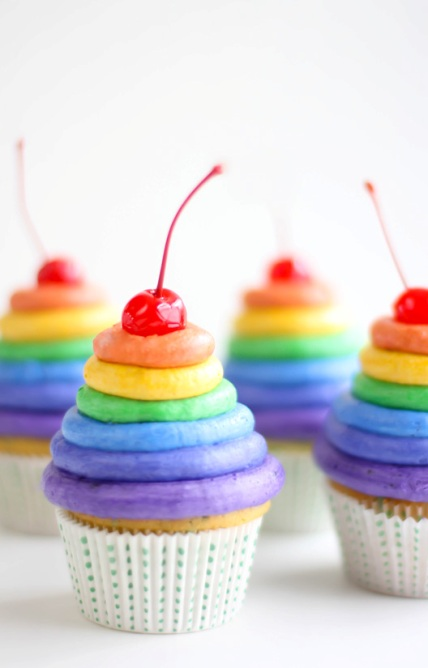 The Sky High Rainbow Cupcakes That Inspired the Oh,The Places You'll Go Cupcakes