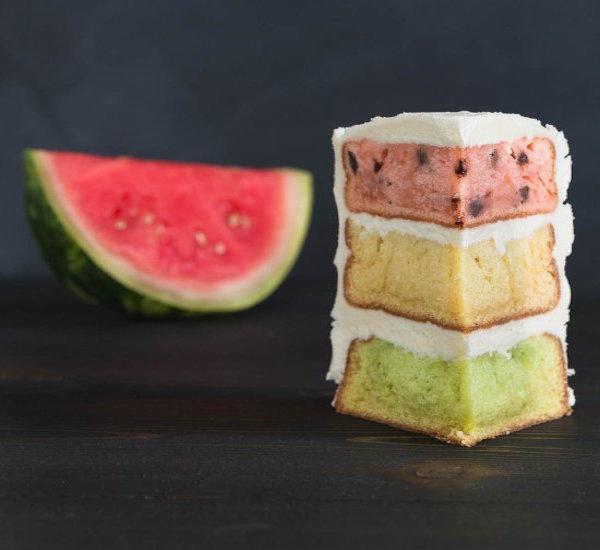 watermelon inspired layered cake