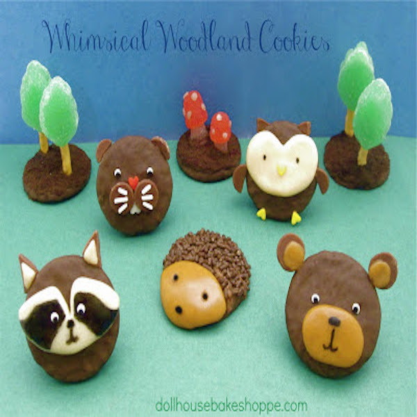 woodland animal cookies scene