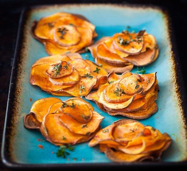 baked sweet potato roses