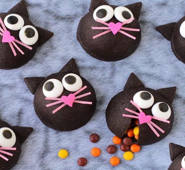black cat halloween treat filled cookies