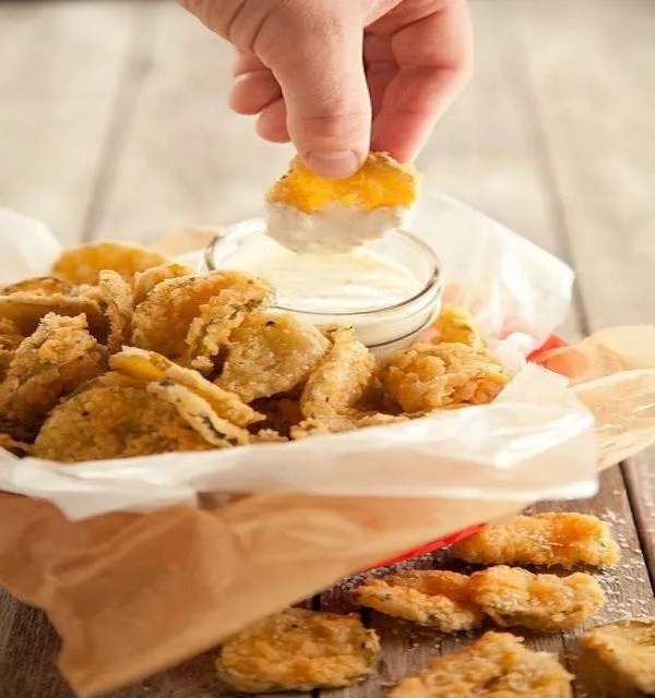 cilantro garlic ranch and fried pickles