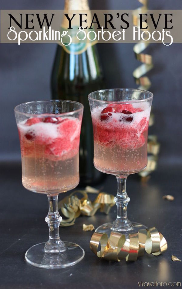 new year's eve sparking sorbet floats
