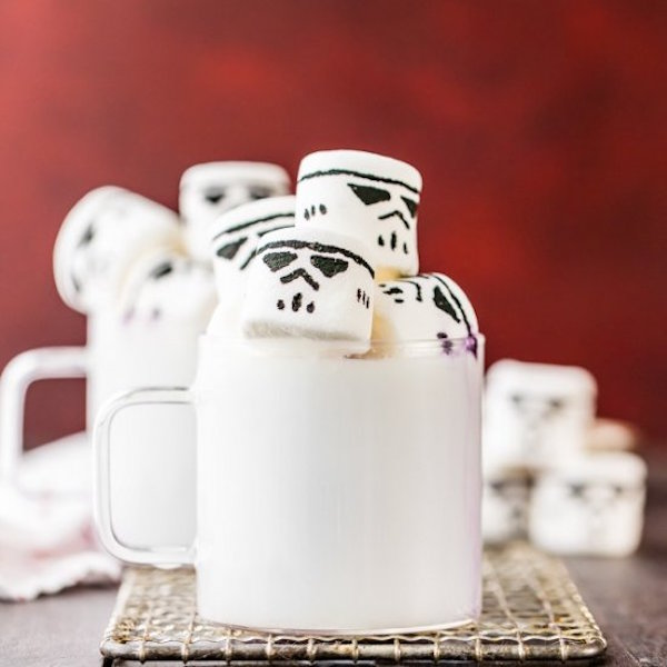 white hot chocolate with storm trooper marshmallows