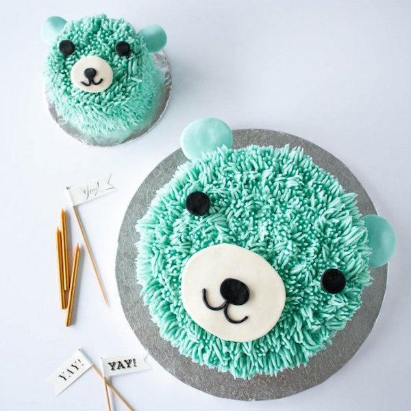 blue bear birthday cake
