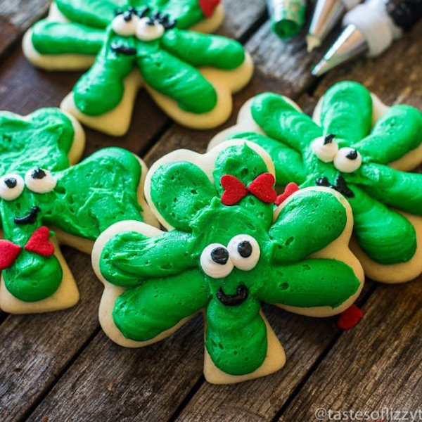 St. Patrick's Day Frosted Shamrock cookies