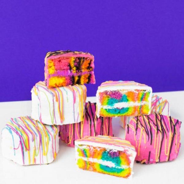 Lisa Frank zebra cakes