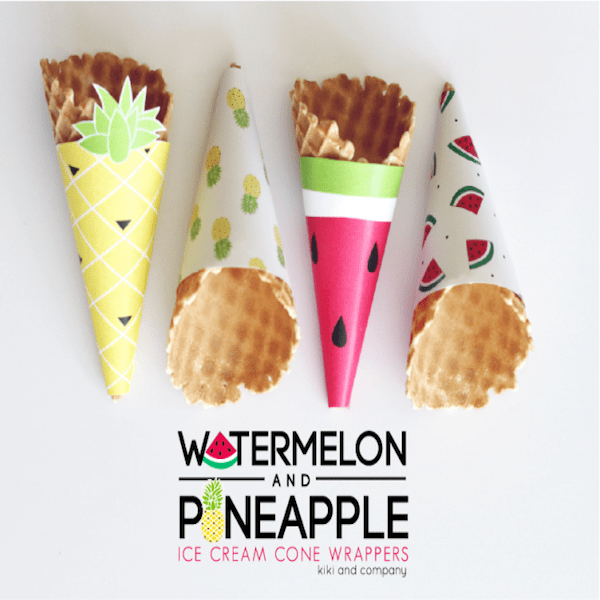 Watermelon-and-Pineapple-Ice-Cream-Cone-Wrappers