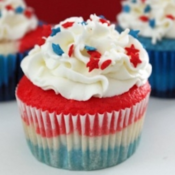 red, white, and blue cupcake
