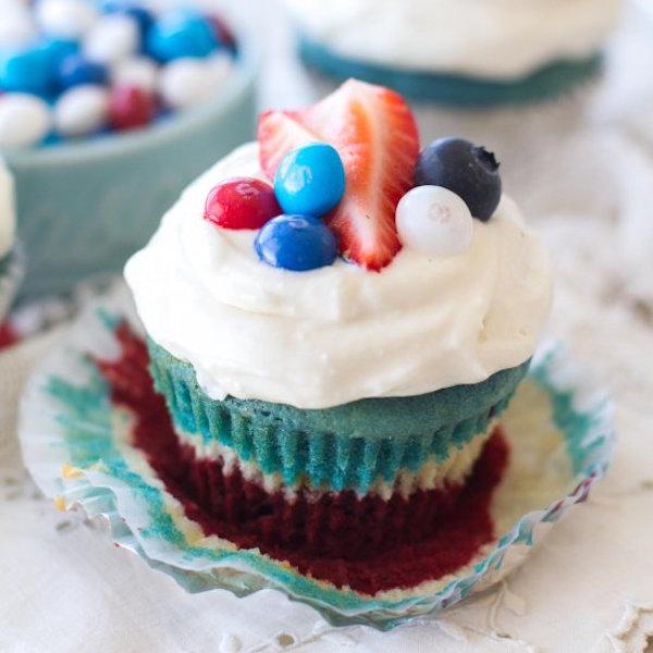 red, white, and blue velvet cupcakes