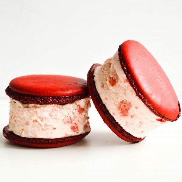 red velvet macaron ice cream sandwiches